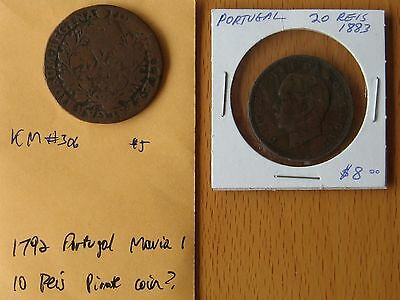 Portugal 1792 10 Reis Maria I and 1883 20 Reis Luiz I Great lot of early coins