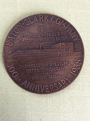 Vintage 1938 Eaton-Clark Chemical Co. 100th Anniversary Bronze Medal, Gorham