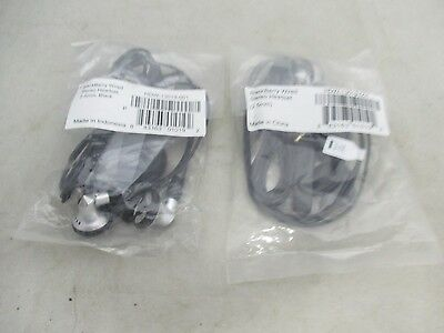 Lot Of 2 Brand New  In A Plastic Blackberry Wired Stereo Headset 2.5 Mm Black