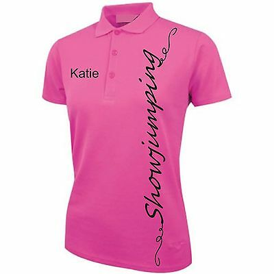 PINK Personalised SJumping  Ladies Printed Polo Shirt horse riding clothes tops