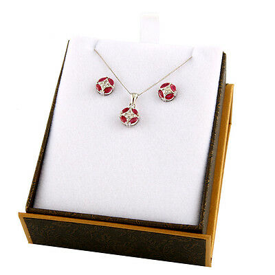10k White Gold Ruby and diamond set with matching pendant and earrings S2
