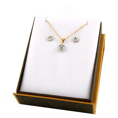 10k White Gold Diamond pendant with matching stud earrings S17