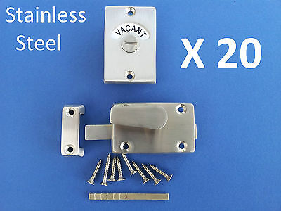 20 X Indicator Bolts Stainless Steel Bathroom Toilet Door Lock Vacant Engaged