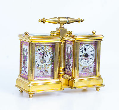 Brass Carriage Clock & Barometer Hand Painted Pink Sevres