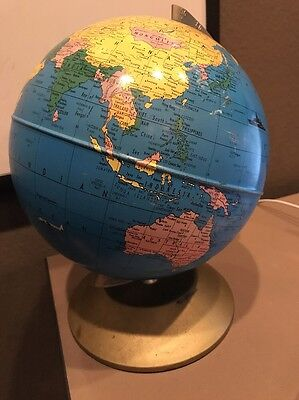 "Vtg. 1951 RAND McNALLY World 10.5"" Desk Globe w/ Metal Stand 1950's"