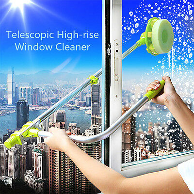 U-type Telescopic High-rise Window Cleaning Glass Cleaner Dust Brush Green