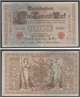 Germany 1000 Mark 1910 at (XF) CRISP Red Seal Banknote P-44