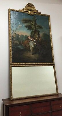 18th C  FRENCH LOUIS XV PAINTED IMPORTANT TRUMEAU FROM CHATEAU DE ROCHEGUDE