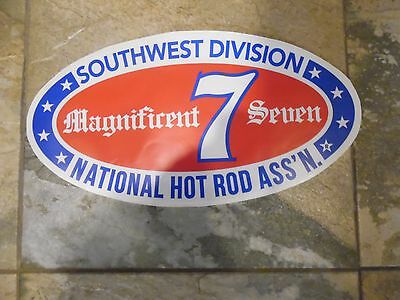 "Vintage Nhra Divison 7 Large Oval Sticker 'magnificent 7'   18"" Long  9"" Tall"
