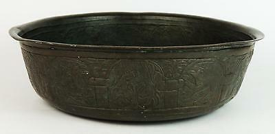 ISLAMIC MIDDLE EASTERN Antique BRASS ENGRAVED BOWL 19th Century
