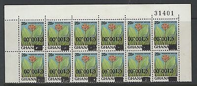 GHANA SG1262a 1988 100c on 20p SURCHARGE INVERTED MNH BLK OF 12
