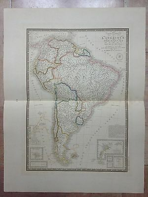 SOUTH AMERICA DATED 1845 by BRUE LARGE ANTIQUE COPPER ENGRAVED MAP