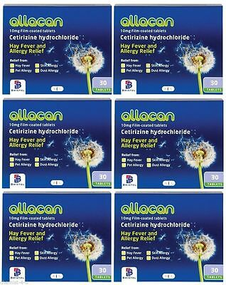 Allacan Cetirizine 10mg Hayfever and Allergy Relief 10mg 180 Tablets