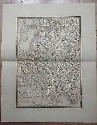 RUSSIA POLAND DATED 1842 by BRUE LARGE ANTIQUE COPPER ENGRAVED MAP XIXe CENTURY