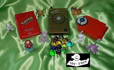 22 teile POKEMON SET 3x POKEDEX DELUXE advance + Figuren + Murmeln L@@K