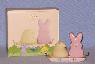 Lenox PEEPS Salt & Pepper Shaker Set With Tray Easter Bunny And Spring Chick NEW