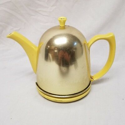 Vintage Hall Teapot With  insulated Aluminum Cover  Yellow