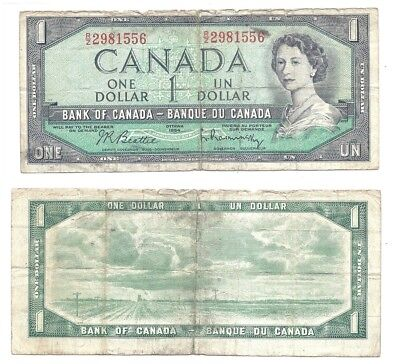Canada 1 Dollar 1954 (1961-72) in (VG-F) Condition Banknote P-75b