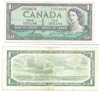 Canada 1 Dollar 1954 (1972-73) in (VF) Condition Banknote P-75c
