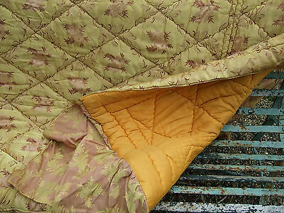 Antique French Jacquard Boutis Quilt, Pale Gold And Pink
