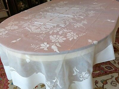 "Vintage Madeira Fine White Organdy Linen 86"" Tablecloth 8 Napkins"