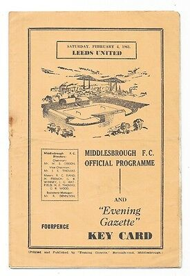 Middlesbrough v Leeds United, 1960/61 - Division Two Match Programme.