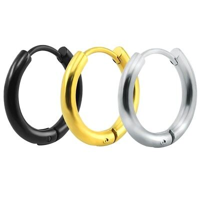 1 Piece Women's Men Punk Silver Gold Black Stainless Steel Huggie Hoop Earrings