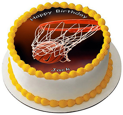 BASKETBALL NET 7.5 PREMIUM Edible RICE CARD Cake Topper CAN PERSONALISED D1
