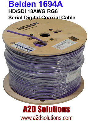 Belden 1694A - 1,000 feet - HD/SDI 18AWG RG6 HD Digital Coaxial Cable - VIOLET