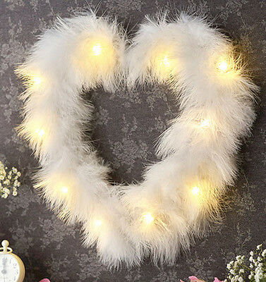 LED Wall Lights White Fluffy Feather Heart Ornament Bedroom Luxury Girl Princess
