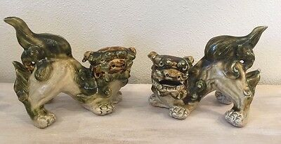 PAIR Chinese Shiwan Glazed Pottery Foo Dogs Lion Asian Antique Statues Art As-is