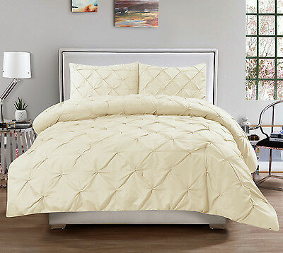 Hudson 3 Piece Pinch Pleat Comforter Set Cream Pintuck Oversized Bedding Ivory