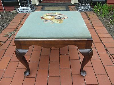 MAHOGANY FOOT STOOL Queen Anne Needlepoint Upholstered Top Bench VINTAGE