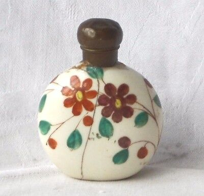 Chinese Hand Painted Snuff Bottle Decorated With Flowers A/f