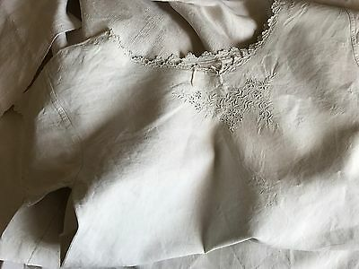 "Antique French Linen Nightdress - Flowers Embroidered & Large ""fs"" Monogram"