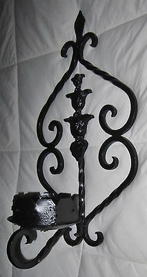 "Antique WROUGHT IRON WALL PILLAR CANDLE HOLDER Sconce 18"" Tall"