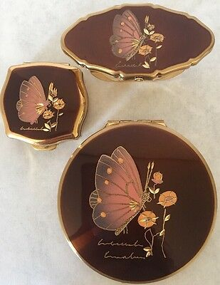 Stratton Butterfly Mirror Compact Pill Box Lipstick Holder Set Vintage Copper