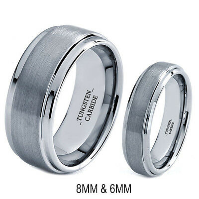 Flawless Silver His 8MM And Her's 6MM Tungsten Ring Band Set -FREE ENGRAVING