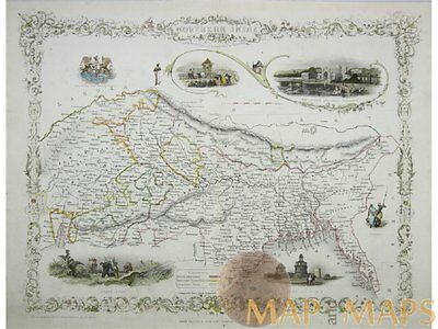 Northern India | Antique old map North India by Tallis 1854