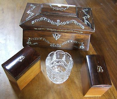Pretty Regency/Victorian inlaid sarcophagus rosewood tea caddy with interior