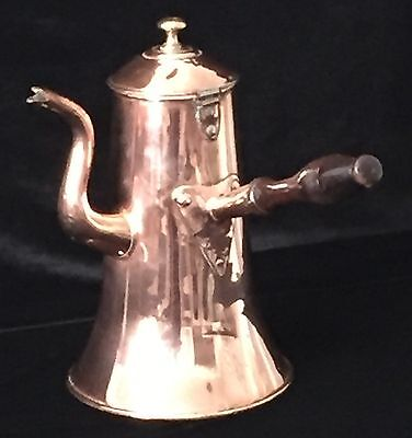 Antique French Copper Coffee Pot with Wood Handle, Ca 1890