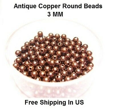 6 MM Antique Copper Round Hollow Beads Hole 2.2 MM Genuine Solid Copper