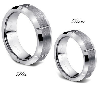 Silver Color His And Her's 7MM Tungsten Ring Band Set - FREE ENGRAVING