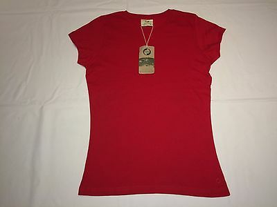 CLEARANCE Womens Okarma Organic Cotton Premium Fitted T Shirt. Red S x 36. L7.