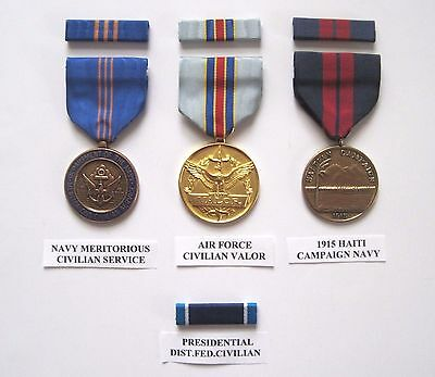 Lot Of 3 Us Military Medals And 4 Ribbon Bars