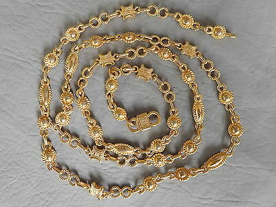 Celine Paris Ancien Collier Sautoir Chaine Plaque Dore Golden Vintage Necklace