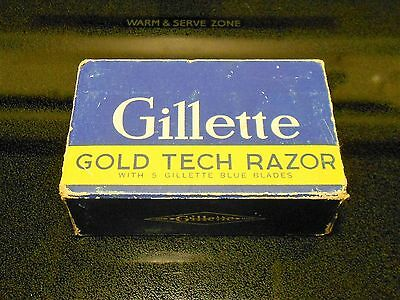 Vintage Gillette Gold Tech Safety Razor Fat Handle w/ Case / Box