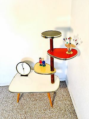 Atomic Era Display Table Mid Century Plant Stand Kidney Side Table  Space Age