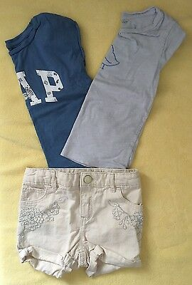 Gap girls Sz 4t 3 Piece Outfit 2 Tops & shorts EUC
