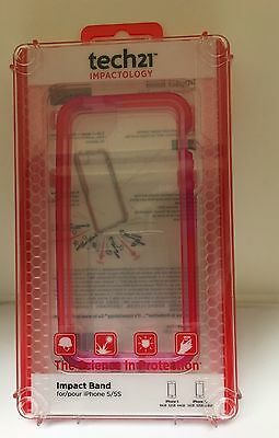Tech21 Impact Band Case For Apple iPhone 5S/5 - Pink - clear  Retail Packaging